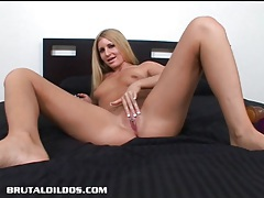Blonde larin has a deep throat and wet pussy that swallows big dildos tubes