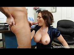 Busty slut in satin blouse sucks big cock tubes