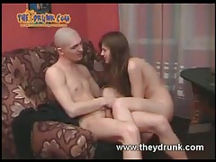 Really drunk girl takes his cock in her pussy tubes