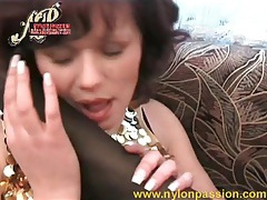 Foot licking ladies in soft nylons tubes