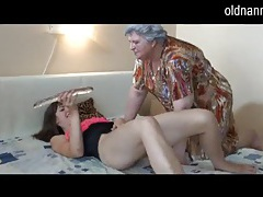 Horny chubby grandma masturbating with lesbian gf tubes