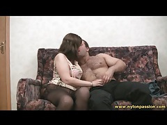 Pantyhose sex with curvy couple tubes