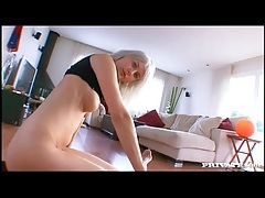 White haired hottie has reverse cowgirl sex tubes