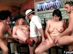 Fat chicks on bar stools fucked in hot orgy tubes