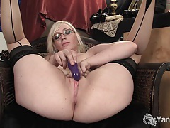 Stockinged ruby vibrating her pink pussy tubes