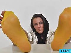 Brunette ella nylon feet tubes