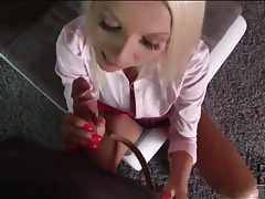 Pizza delivery guy sucked by hot blonde tubes