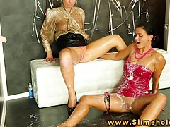 Laetitia and candy blond bukkake at gloryhole tubes