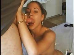 Girl in slutty white heels sucks dick tubes