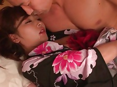 Cute girl in kimono sucks hard dick tubes