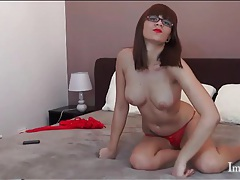 Perky tits webcam chick in stockings and lipstick tube