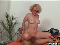 Seductive old lady rides his hard boner tubes
