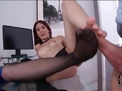 Big cock boss gets footjob from secretary tubes