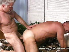 Muscular macho bear barebacks his friend tubes