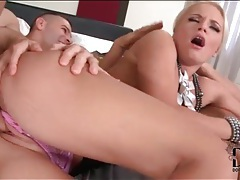 Beautiful blonde sucks dick and gets fucked tubes