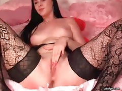 Lace stockings look sexy on webcam beauty tubes