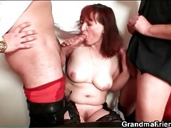 Sexy old redhead in stockings has threesome tubes
