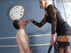 Milf humiliates him and pisses on his face tubes