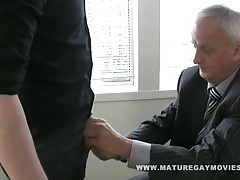 Boss daddy gets fucked by red head in the office tubes