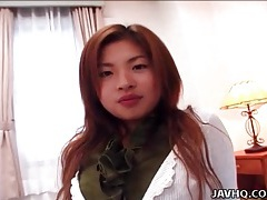 Japanese chick unbuttons cardigan in tease vid tubes