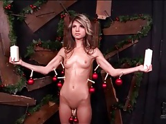 Skinny girl suffers pain and hot wax play tubes