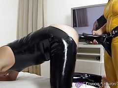 Femdom strapon fuck with horse-dildo tubes