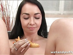 Adorable chick fills cunt with toy tubes