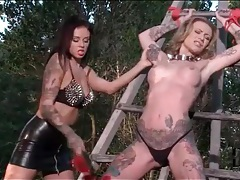 Kinky lesbian femdom bondage outdoors tubes