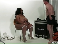 Black fatty sucks his hard white boner tubes