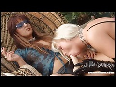 Lesbian on chain leash ass fucked by strapon tubes