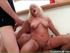 Granny in stockings sucks dick and rides another tubes