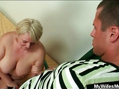 She blows her son in law with passion tubes