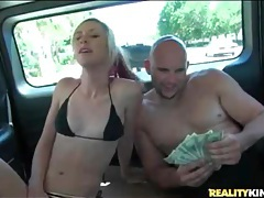 He pays skinny blonde to blow him in car tubes