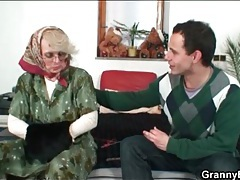 Granny in glasses gives young cock a bj tubes
