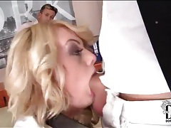 Horny blonde with nice titties sucks cock tubes