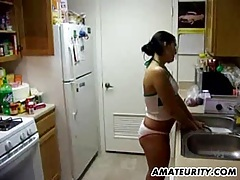 Busty amateur girlfriend sucks and fucks with creampie tubes