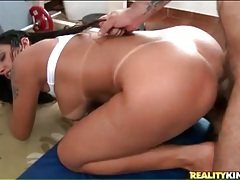Latina anal slut rides him and bends over tubes