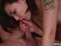 Cocksucking japanese beauty makes him cum tubes