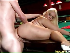 Curvy blonde sucks dick and does doggystyle tubes