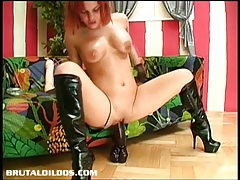 Busty brithney fucking the mother of all dildos until she squirts tubes