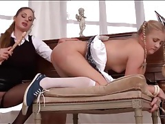 Submissive schoolgirl eats out mistress pussy tube