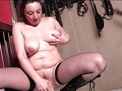 Dildo fucking mature in fishnets and boots tubes