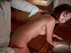 Asian in chains fucked in the tight ass tubes