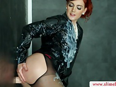 Sexy redhead bukkake babe sprayed with cum tubes
