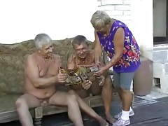 Old guys undress granny chick outdoors tubes