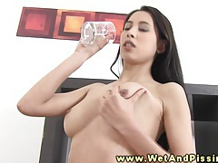 Hot pee fetish babe tasting her urine tubes