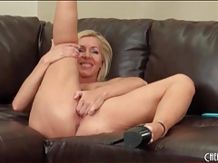 Milf blonde with fake tits masturbates tubes