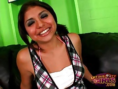 Cute latina in pigtails gets oiled up tubes