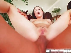 Thick dick fucks anal creampie into brunette tubes