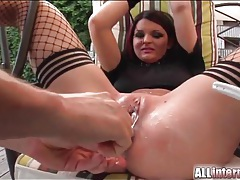 Double penetrated slut takes a creampie tubes